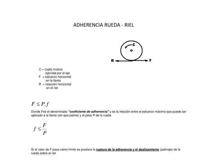 ADHERENCIA RUEDA - RIEL