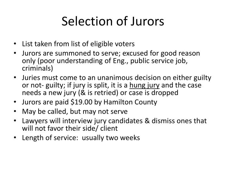 Selection of Jurors