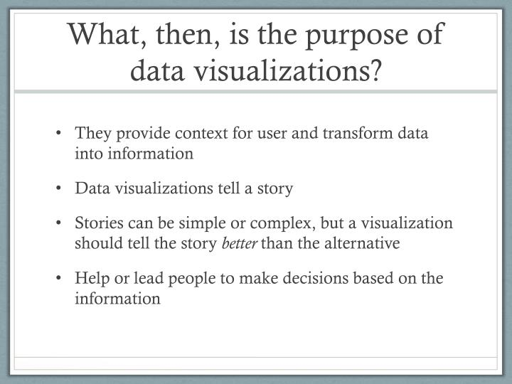 What, then, is the purpose of data visualizations?