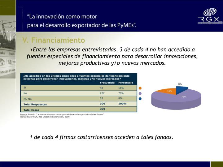 V. Financiamiento