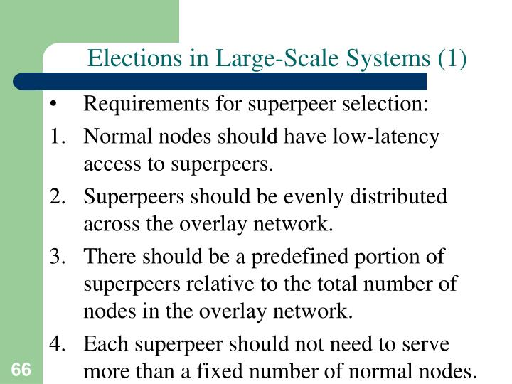 Elections in Large-Scale Systems (1)