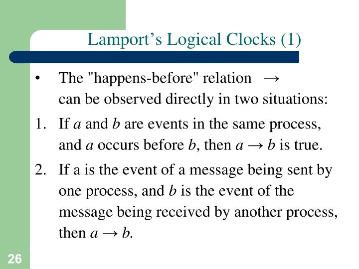 Lamport's Logical Clocks (1)