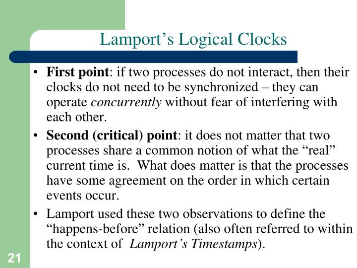 Lamport's Logical Clocks