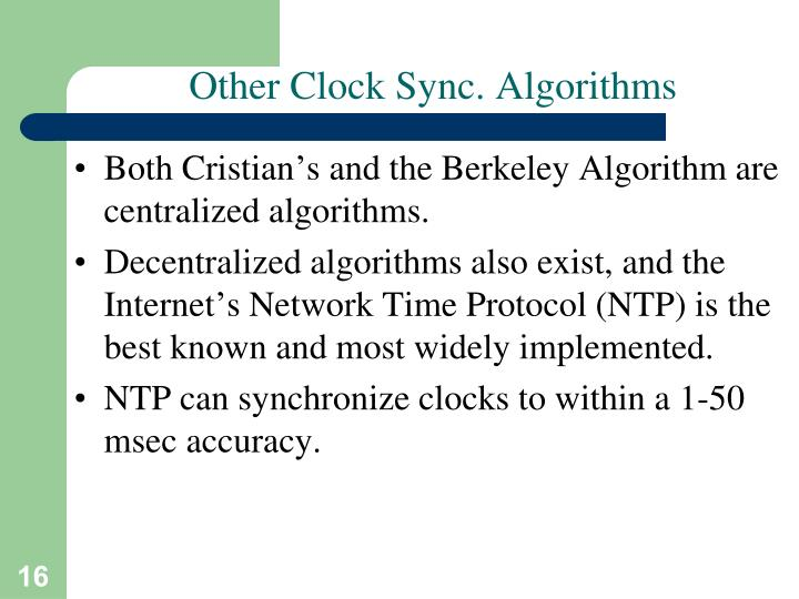 Other Clock Sync. Algorithms