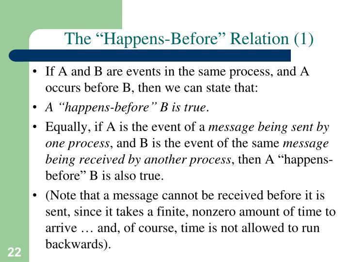 "The ""Happens-Before"" Relation (1)"