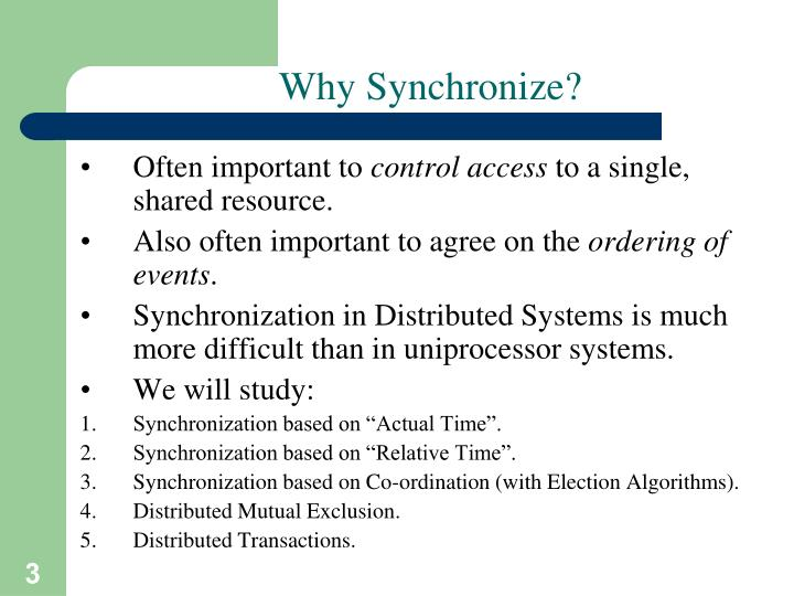 Why synchronize