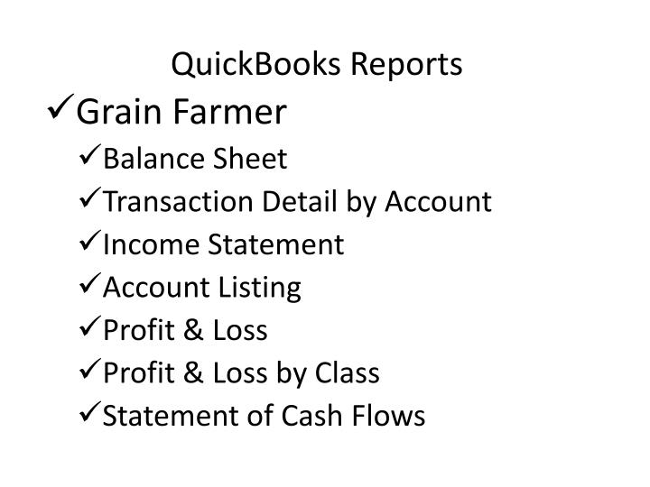 QuickBooks Reports