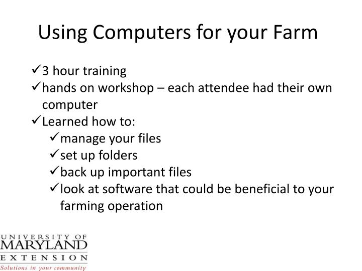 Using Computers for your Farm