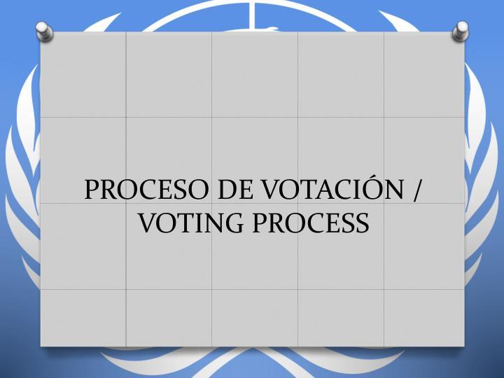 PROCESO DE VOTACIÓN / VOTING PROCESS