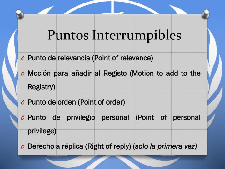 Puntos Interrumpibles