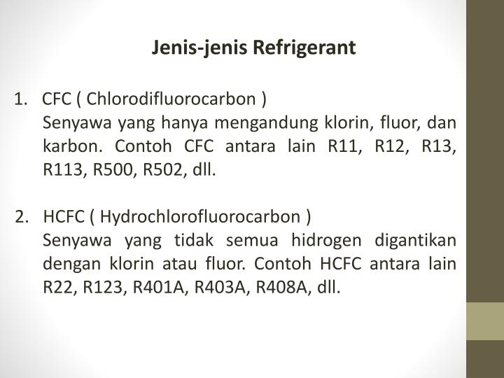 Jenis-jenis Refrigerant
