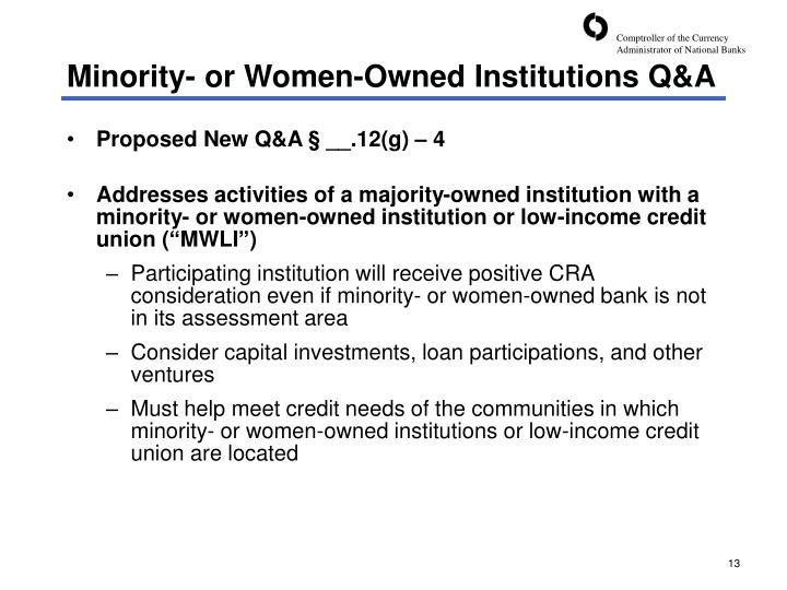 Minority- or Women-Owned Institutions Q&A