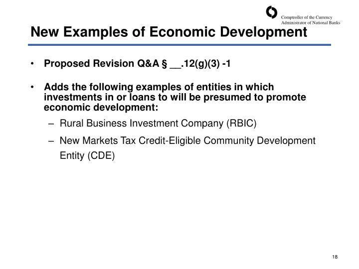 New Examples of Economic Development