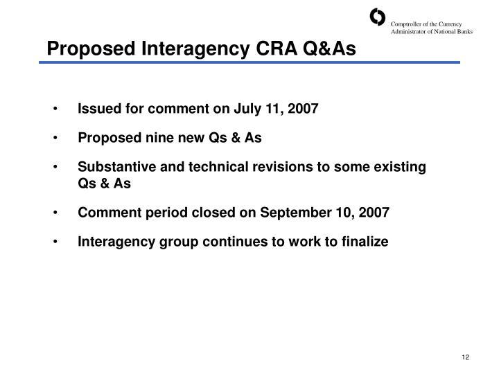 Proposed Interagency CRA Q&As