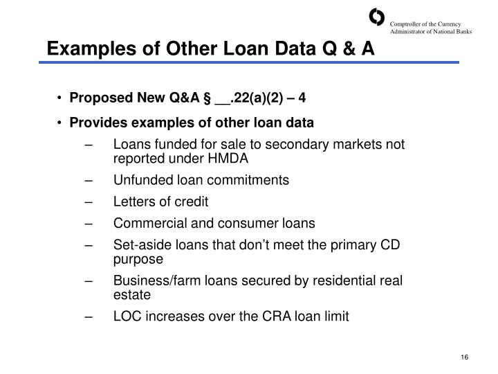Examples of Other Loan Data Q & A