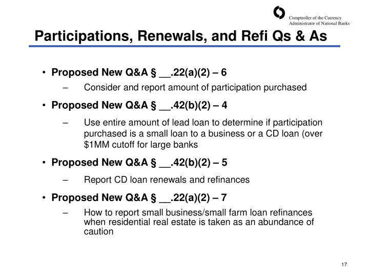 Participations, Renewals, and Refi Qs & As