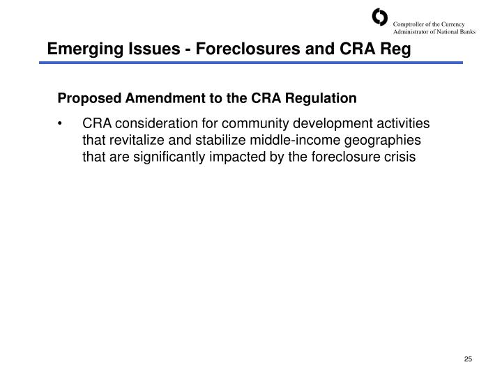 Emerging Issues - Foreclosures and CRA Reg