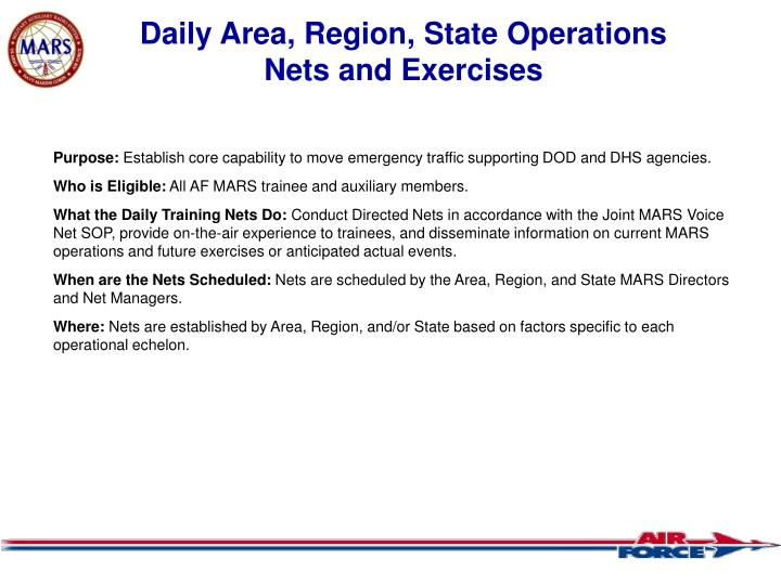 Daily Area, Region, State Operations
