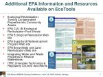additional epa information and resources available on ecotools