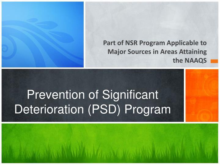 Prevention of significant deterioration psd program