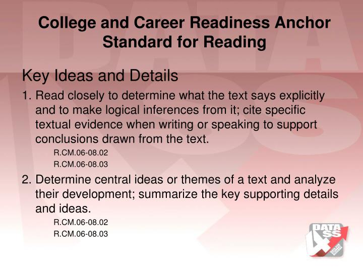 College and Career Readiness Anchor Standard for Reading
