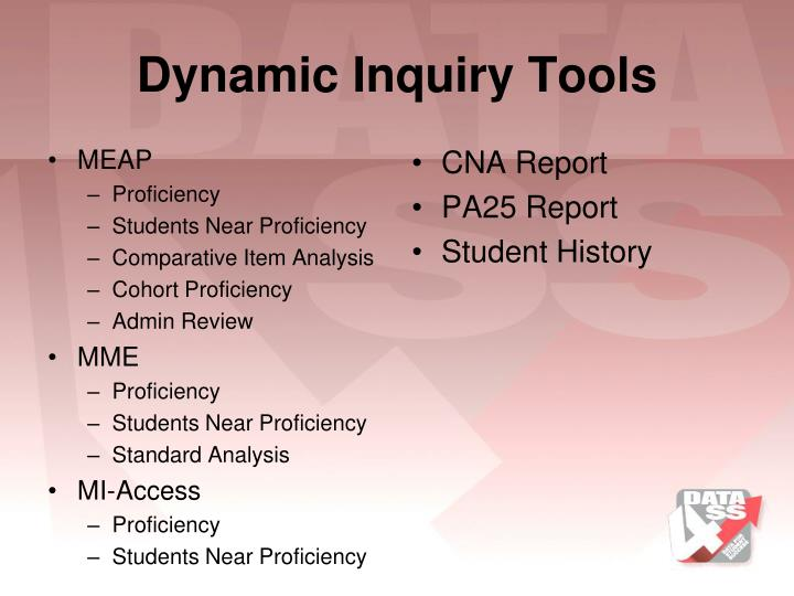 Dynamic Inquiry Tools