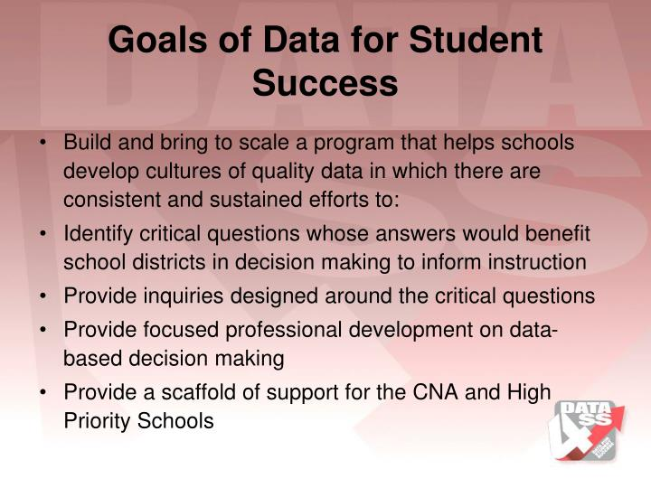 Goals of Data for Student Success