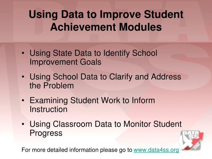 Using Data to Improve Student Achievement Modules