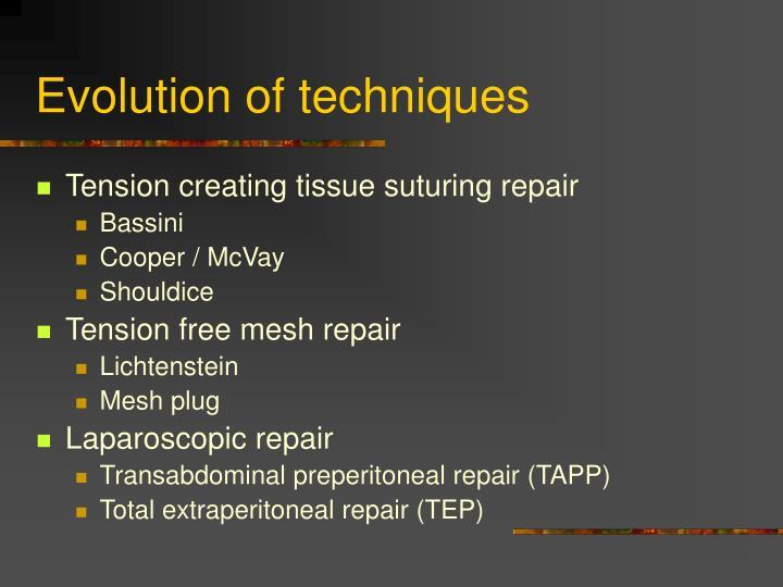 Evolution of techniques