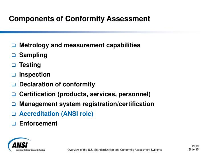 Components of Conformity Assessment