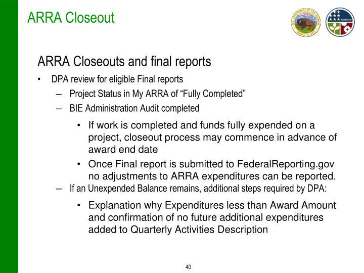 ARRA Closeout