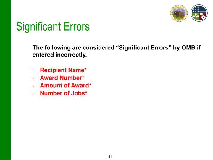 Significant Errors