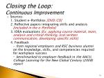 closing the loop continuous improvement