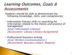 learning outcomes goals assessments