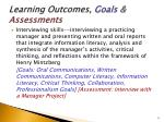 learning outcomes goals assessments1