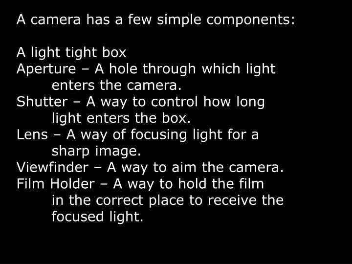 A camera has a few simple components: