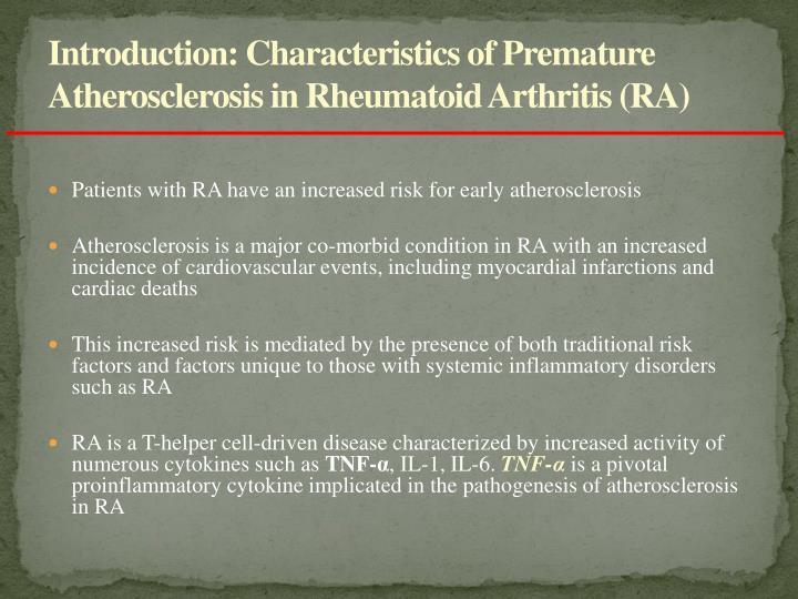 Introduction characteristics of premature atherosclerosis in rheumatoid arthritis ra