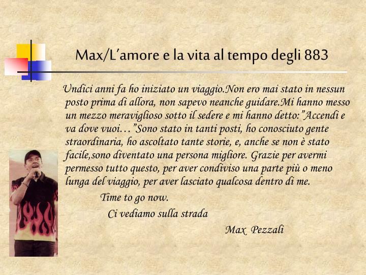 Max/L'amore e la vita al tempo degli 883