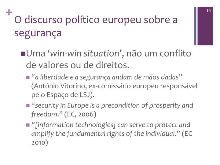 O discurso político europeu sobre a segurança
