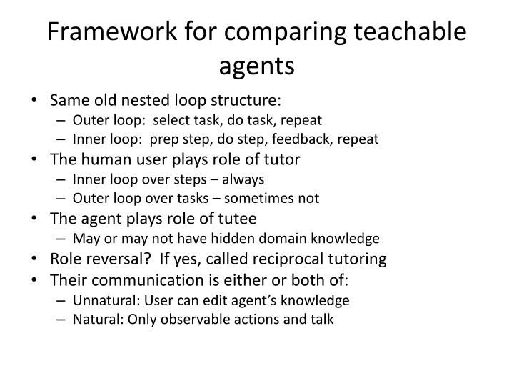 Framework for comparing teachable agents