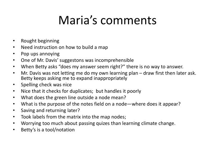 Maria's comments