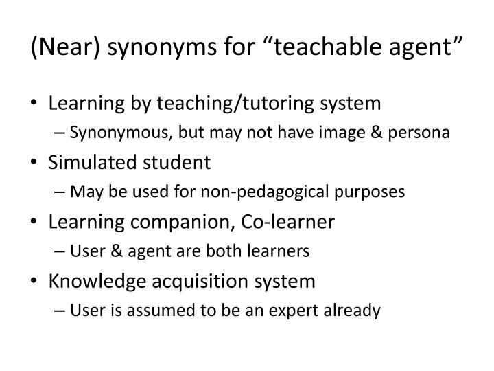 "(Near) synonyms for ""teachable agent"""