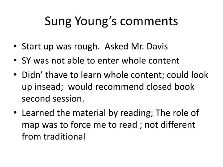 Sung young s comments