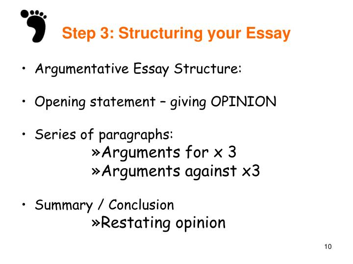 structure of argumentative essay How to write an argumentative essay in an argumentative essay, you want to convince someone to agree with your idea or opinion, using research-based evidence writing an argumentative essay is a skill that anyone in school needs to know, though it can be useful outside of the classroom, as well.