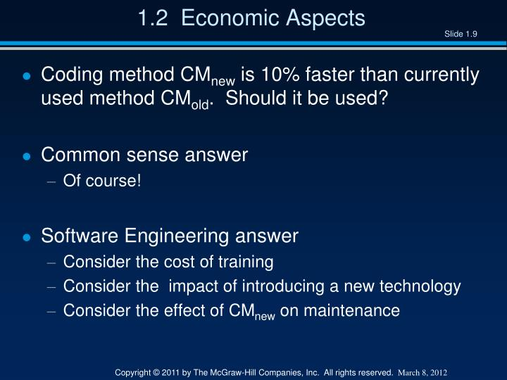 1.2  Economic Aspects