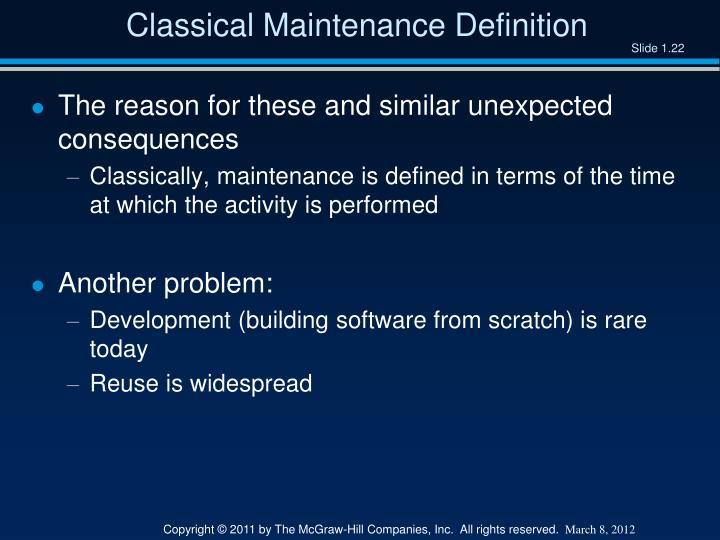 Classical Maintenance Definition