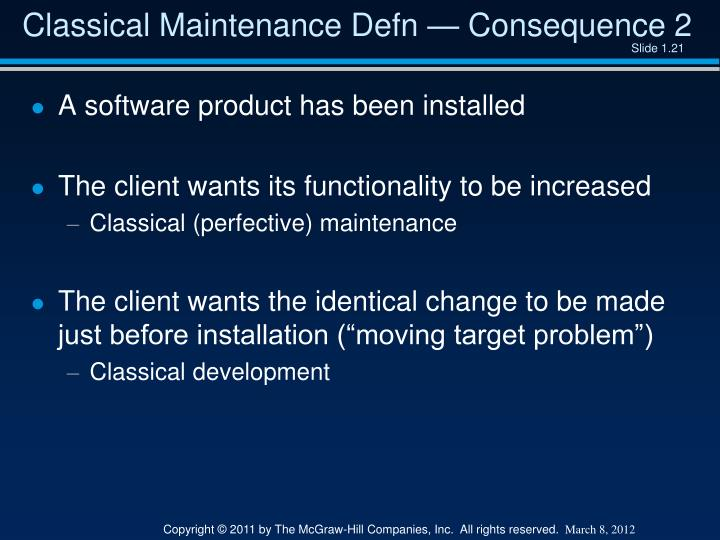 Classical Maintenance Defn — Consequence 2