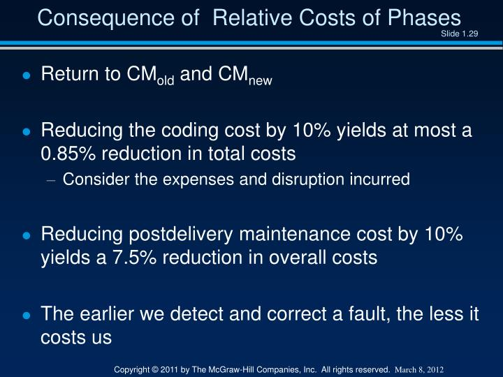 Consequence of  Relative Costs of Phases