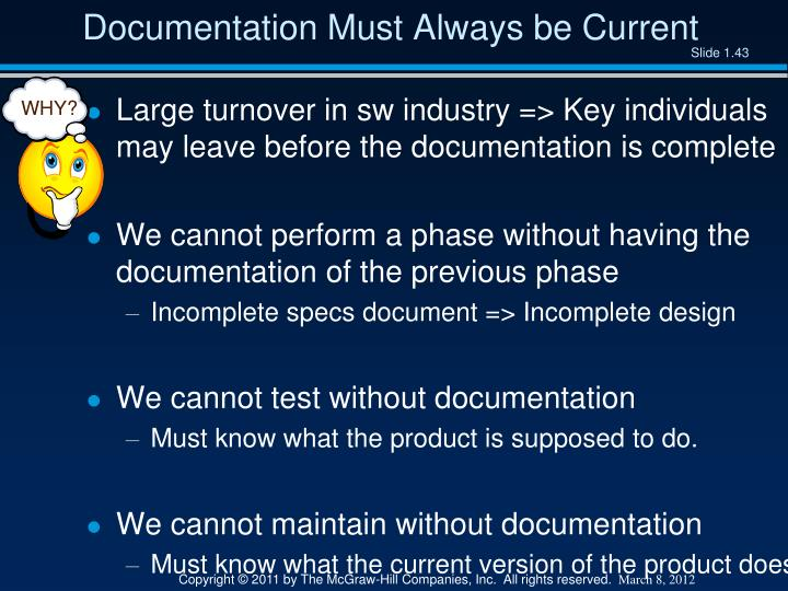 Documentation Must Always be Current