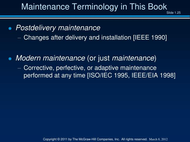Maintenance Terminology in This Book